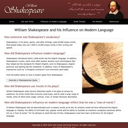 William Shakespeare and his Influence on Modern Language