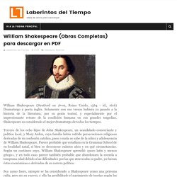 William Shakespeare (Obras Completas) para descargar en PDF - Laberintos del Tiempo