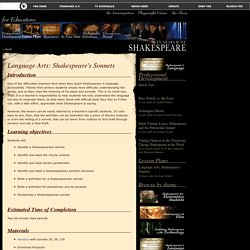 In Search of Shakespeare . Language Arts: Shakespeare's Sonnets