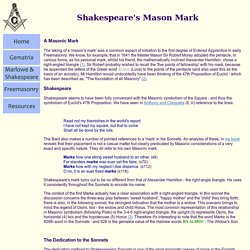 Shakespeare's Masonic Mark - Unzipped
