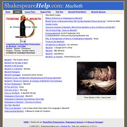 Macbeth Lesson Plans, Macbeth Quizzes, Help with Macbeth, Macbeth Resources, Macbeth and witches