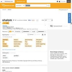 Shalom Synonyms, Shalom Antonyms