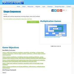 Mathsframe: 170+ quality interactive maths games for KS2 - Shape Sequences