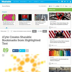 iCyte Creates Sharable Bookmarks from Highlighted Text