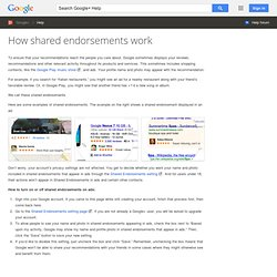 How shared endorsements work - Google+ Help