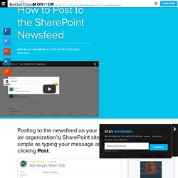 How to Post to the SharePoint Newsfeed - BetterCloud Monitor