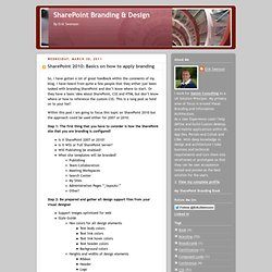SharePoint 2010: Basics on how to apply branding