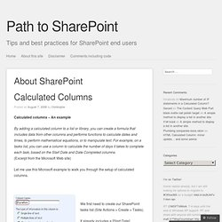 About SharePoint Calculated Columns