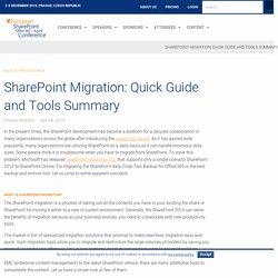 SharePoint Migration: Quick Guide and Tools Summary - European SharePoint, Office 365 & Azure Conference, 2019, Prague, Czech Republic