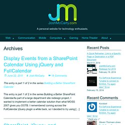 Series: Building a Better SharePoint Calendar « JoshMcCarty.com
