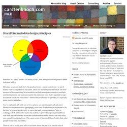 SharePoint metadata design principles