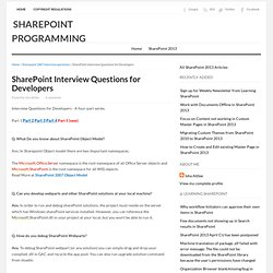 SharePoint Interview Questions for Developers