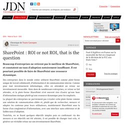 SharePoint : ROI or not ROI, that is the question - JDN Web & Tech