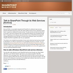 Talk to SharePoint Through its Web Services [Archive] | SharePoint Monitor