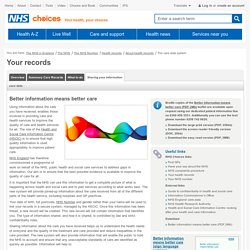 Sharing your data with the NHS - Health records