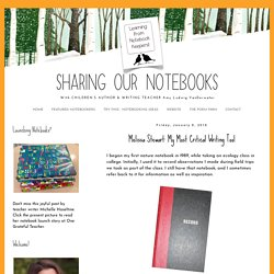 Sharing Our Notebooks: Melissa Stewart: My Most Critical Writing Tool