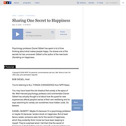 Sharing One Secret to Happiness : NPR - Mozilla Firefox