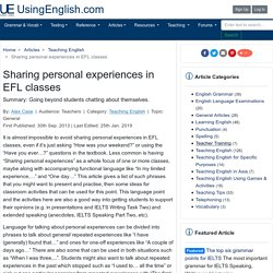 Sharing personal experiences in EFL classes
