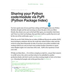 Sharing your Python code/module via PyPI (Python Package Index) – John Troony