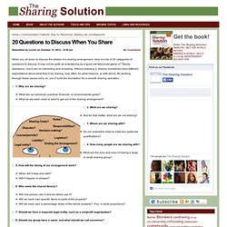 The Sharing Solution » 20 Questions to Discuss When You Share