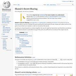 Shamir's Secret Sharing