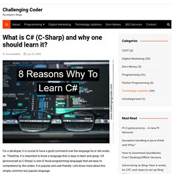 What is C# (C-Sharp) and why one should learn it? - Challenging Coder