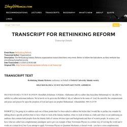 Transcript > Rethinking Reform