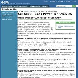 FACT SHEET: Clean Power Plan Overview