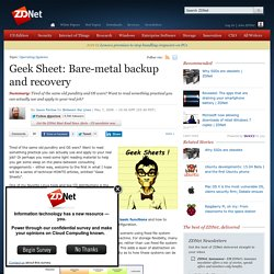 Geek Sheet: Bare-metal backup and recovery