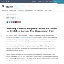 Attorney Cortney Shegerian Issues Statement on Gretchen Carlson Sex Harassment Suit