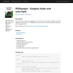 [ Shell-Storm.org ] | Project | ROPgadget tool v3.3