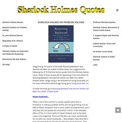 Sherlock Holmes on Problem Solving - Sherlock Holmes Quotes
