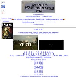 Movie Title Screens Page