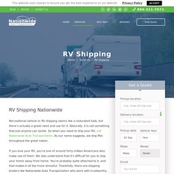 RV Shipping - Affordable Service. Free Quote.