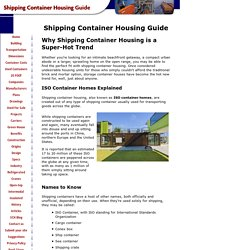 Shipping Container Housing Guide