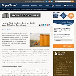 How to Buy Used Shipping Containers and Save Money on Storage Containers
