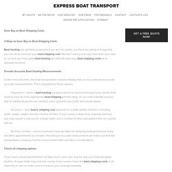 Save Big on Boat Shipping Costs