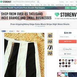 Free shipping!Wavy Edge Color Block Stripe High Waist Shorts from ego_superman on Storenvy