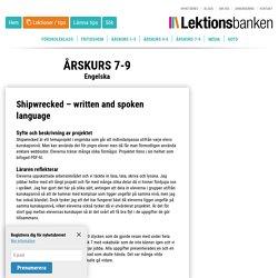 Shipwrecked - written and spoken language