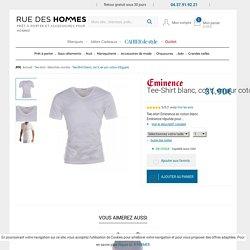 Tee-Shirt blanc, col V, en pur coton d'Egypte