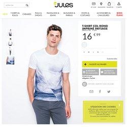 T-shirt col rond imprimé paysage Blanc Homme