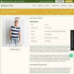 Mens Polo Neck T Shirts, Mens Sports Wear T Shirts Manufacturer in Tirupur