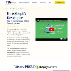 Hire Shopify Developer – Dedicated Shopify Experts India