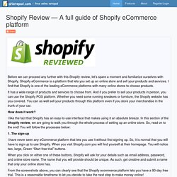 Shopify Review — A full guide of Shopify eCommerce platform