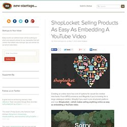 ShopLocket: Selling Products As Easy As Embedding A YouTube Video