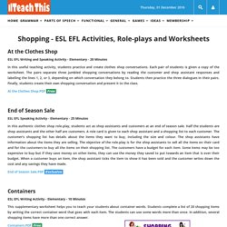 Shopping ESL EFL Activities Role-plays Worksheets