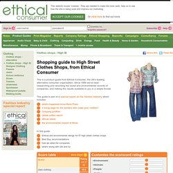 Shopping guide to High Street Clothes Shops, from Ethical Consumer