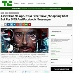 Assist Has No App. It's A Free Travel/Shopping Chat Bot For SMS And Facebook Messenger