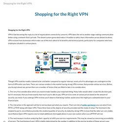 Shopping for the Right VPN