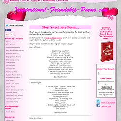 Short Sweet Love Poems | Short Love Poems